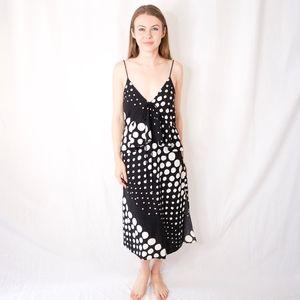 C/MEO COLLECTIVE Polka Dot Midi Dress Abstract